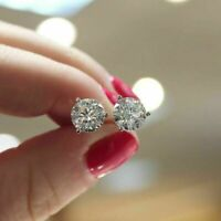 2 Carat Round Cut Diamond Stud Post Pushback Earrings In Solid 14K White Gold