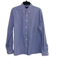 Tommy Hilfiger Sz L Slim Fit Blue Check Dress Shirt Button-Down 16-16.5 34-35