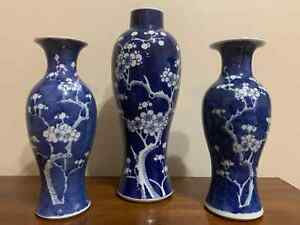 3 Set of Chinese Antique Blue Vases