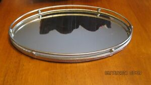 oval Mirrored Vanity Tray Bathroom Makeup Jewelry Organizer gold toned Rail