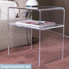 Comodino in Plexiglass Brillante più mensola 50x40 h:45cm design trasparente