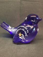 "Fenton ""Star Light, Star bright, All Are Precious In His Sight"" Cobalt Blue Bird"