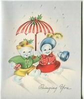 VINTAGE CHRISTMAS SNOWMAN SNOW GIRL UMBRELLA RED STRIPE BLUE PURSE GREETING CARD