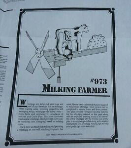 Whirligig MILKING FARMER whirlygig garden wind toy copy carpentry pattern plans!