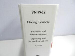 Studer 961/962  Mixing Console Serviceanleitung / bedienung anleitung ( DE / ENG