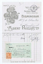 1922 Billhead - Albert Phillips, Excelsior Works, Eyre St Spring Hill Birmingham