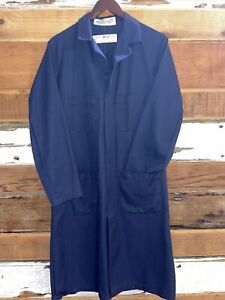 Vintage Red Kap Image Navy Long Lab Work Coat 34R Unisex Doctors Jacket M