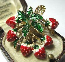 Estilo Vintage Esmalte Rojo Hermoso Fresa Fruta Cristal Joyas Broche Pin