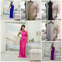 Satin Bridesmaid Wedding Formal Evening Party Prom Halterneck Dress A-line Maxi