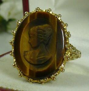 HEAVY 7.0 GR RARE VINTAGE 1973 9CT GOLD UK H/M TIGERS EYE CAMEO RING -SZ 0.5