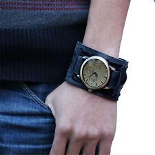 Men's Wide Strap Black Leather Belt Punk Bracelet Watch Antique Style Wristwatch