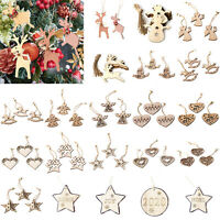 Christmas Tree Star Round Ornament Wooden Hanging Pendants Xmas Home Decor
