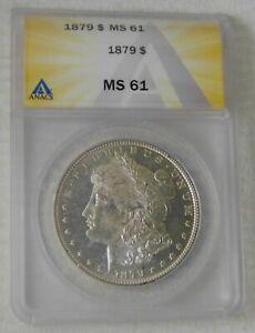 1879 Morgan Silver Dollar $1 Coin, ANACS MS61, NICE!