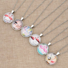 Flamingo Lotus Fairyland Cabochon Glass Necklace Pendant Fashion Jewelry Gifts