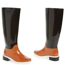 fc9a6f42ec52 Melissa Women s Long Rain Boots Black Brown White Colorblock sz 8 NIB  195  MSRP