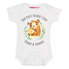 Personalised Our First Father's Day Baby Grow Vest Bodysuit Bear
