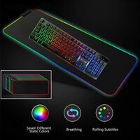 LED Gaming Mouse Pad Large RGB Extended Mousepad Keyboard Desk Anti-slip Mat