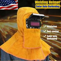 Solar Auto Darkening Filter Lens Welder Leather Hood Welding Helmet Mask Protect