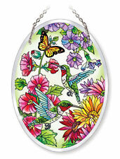 """AMIA STAINED GLASS SUNCATCHER 5.5"""" X 7"""" OVAL WHISPERING WINGS BUTTERFLY #5236"""