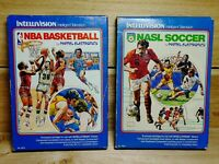 Mattel Intellivision NBA Basketball & NASL Soccer Vintage Boxed Video Game Lot