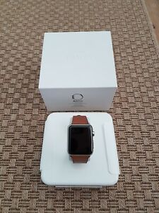 Apple Watch Model A1554 42mm Case 316L Stainless Steel Classic Brown Buckle