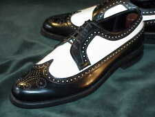 Handmade Mens wingtip brogue Two tone Black & White shoes, Men spectator shoes