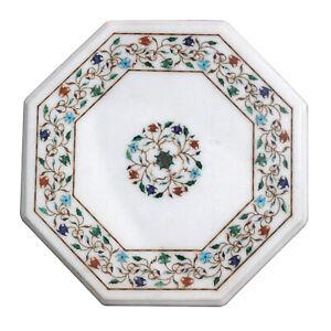 "15"" Marble Table Top Handmade floral Semi precious stones Pietra dura"