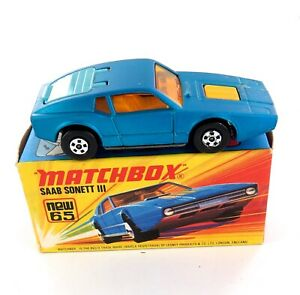 .VINTAGE MATCHBOX SERIES NEW 65 SAAB SONETT III DIECAST CAR + ORIGINAL BOX
