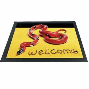Witzige Fußmatte Schlange rote Königsnatter 3D-Motiv bunt 60x40x04 cm Haushalt