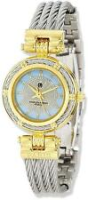 Charles Hubert IP-plated MOP Dial w/Stainless Steel Wire Bangle Watch