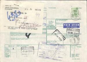 Romania Parcel Card 1973 to Liege Belgium