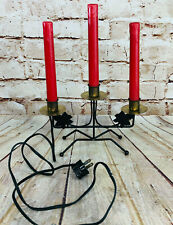 """vintage Candelabra iron red candles electric 12.5"""" H Christmas Decor Mcm"""