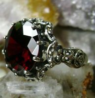 10ct Round Cut *Red Garnet* Sterling Silver Gothic Filigree Ring {Made To Order}