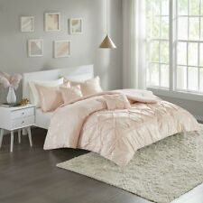 Beautiful White Silver / Pink Gold Pleated 5 pcs Comforter Full Queen set New