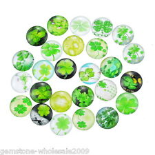 10PCS Wholesale W09 Clover Mixed Glass Embellishments Cabochons Findings 12mm