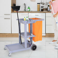 Putzwagen Reinigungswagen Systemwagen Fahrwagen mit Abfallsack 3 Ablagen Grau