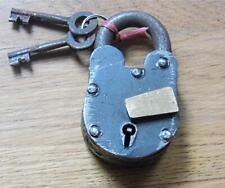 More details for vintage antique style cast iron padlock with 2 keys - perfect for chests & boxes