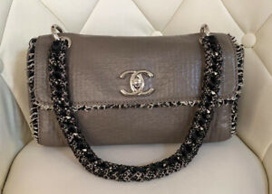 VERIFIED Authentic CHANEL Taupe Leather Medium Flap Bag