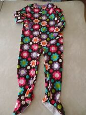 girls CARTERS FOOTED SLEEPER size 5 FLEECE winter PAJAMAS warm FLORAL never worn