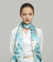 100% Satin Silk Scarf Women neckerchief Shawl Wrap Floral blue green red SJ20-66