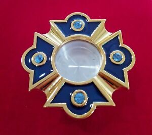 """Personal Reliquary Relic Case 2"""" Gold Plated with Blue Enamel & Shining Stones"""