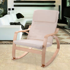 Off White Rocking Chair Armchair Leisure Lounge Accent Living Room Furniture New