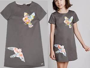 M&S dress Marks Autograph cotton Girls grey sequin Bird Age  6 7 8 9 10 11 years