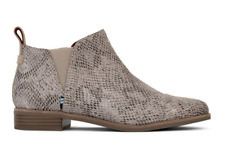 TOMS - REESE -COBBLESTONE SNAKE PRINTED SUEDE LEATHER CHELSEA BOOTS