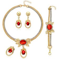 4Pcs Women Indian Gold Pated Jewelry Sets Crystal Necklace Earrings Bracelet
