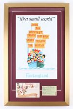 Disneyland It's A Small World 17x27 Custom Framed Display w/Ticket Book & Card