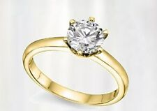 0.15TCW 14K Yellow Gold Certified Real Natural Exclusive Diamond Engagement Ring