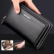Men's Long Purse Leather Wallet Wrist Clutch Card Zipper  Handbag Large Capacity