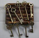 LOT 9PCS BIG Antique Vtg old skeleton key cabinet barrel lock UNIQUE!