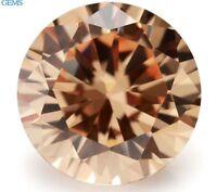 9MM 4.56CT AAAAA Natural Round Champagne Zircon Diamonds Cut VVS Loose Gemstone